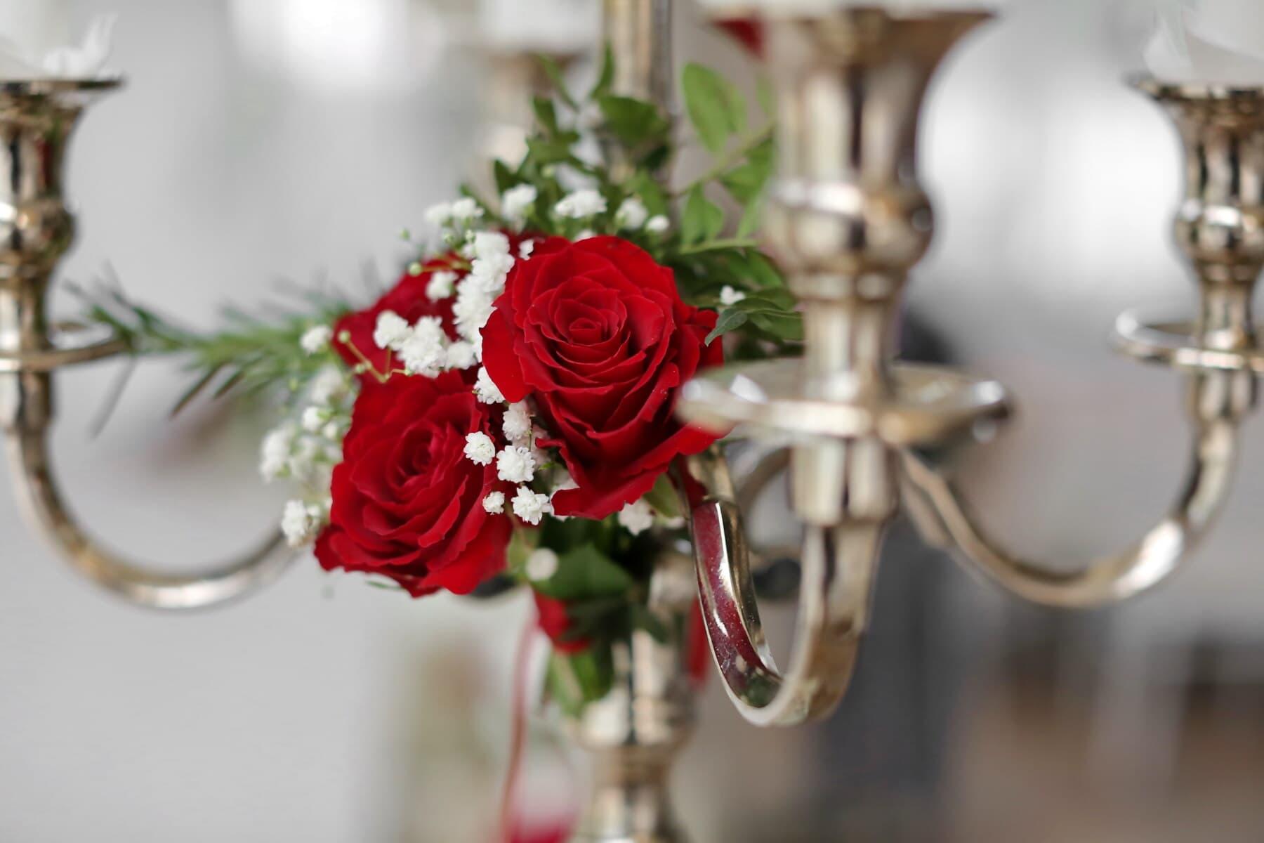 Kerzen, Leuchter, Barock, Stil, aus nächster Nähe, Dekoration, goldener Schein, glänzend, Anordnung, stieg