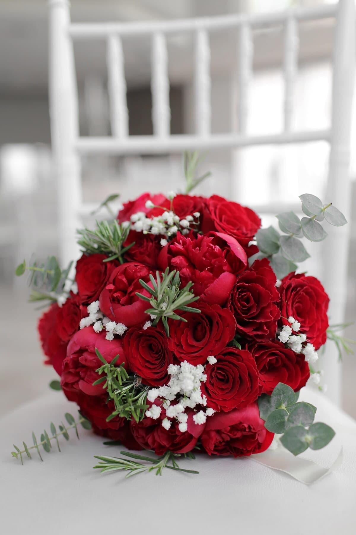 bouquet, elegant, red, rose, white, chair, roses, decoration, arrangement, flower