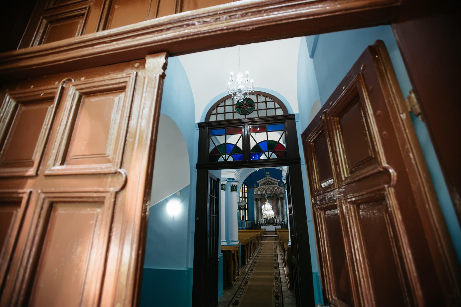 church, front door, catholic, hallway, building, architecture, window, indoors, interior design, door