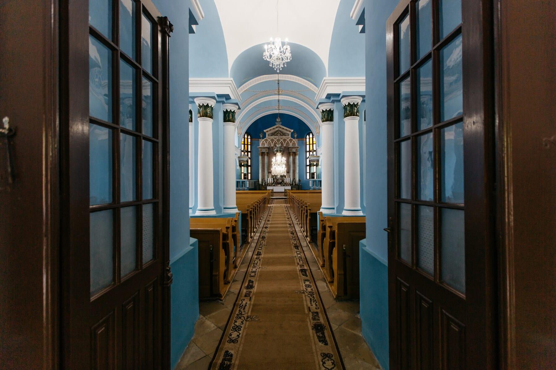 catholique, couloir, église, bleu, des murs, passerelle, autel, Porte, architecture, bâtiment