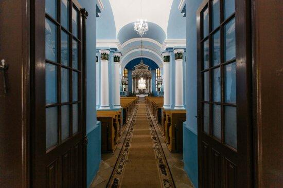 katholische, Flur, Kirche, Blau, Wände, Gehweg, Altar, Tür, Architektur, Gebäude