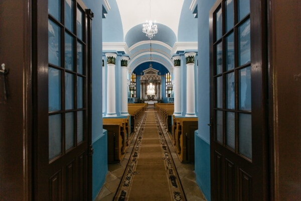 catholic, hallway, church, blue, walls, walkway, altar, door, architecture, building