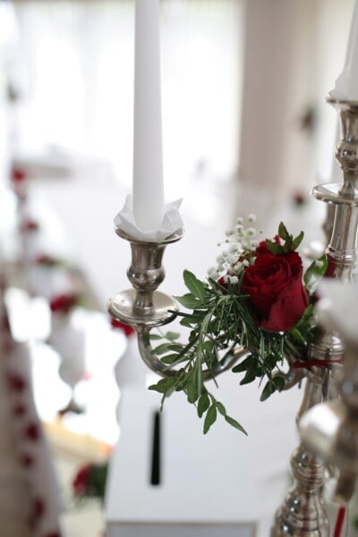 candlestick, candle, romantic, silver, metal, interior design, decoration, bouquet, glass, indoors