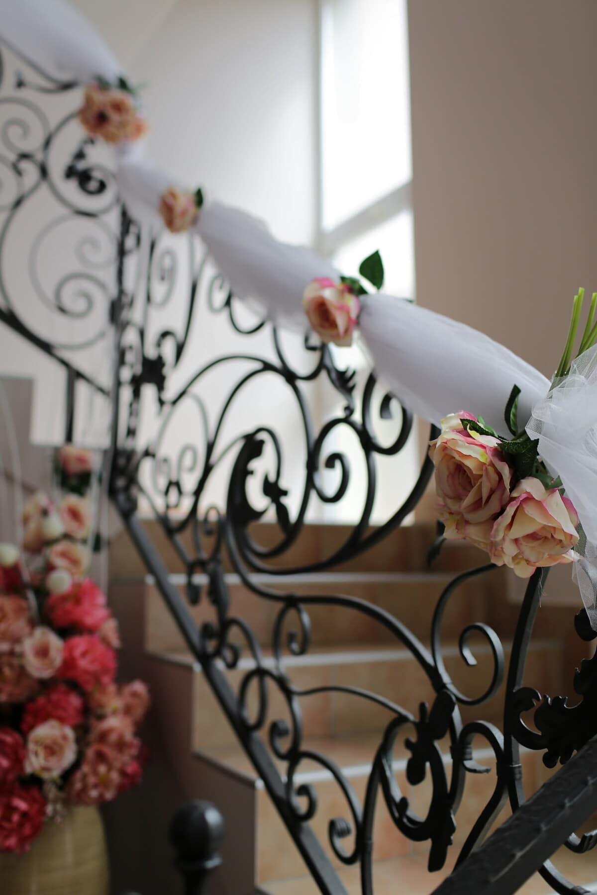 aus Gusseisen, Treppe, Rosen, Dekoration, Zaun, Innendekoration, Treppen, Blume, elegant, Romantik