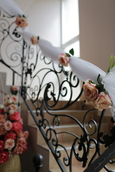 cast iron, staircase, roses, decoration, fence, interior decoration, stairs, flower, elegant, romance