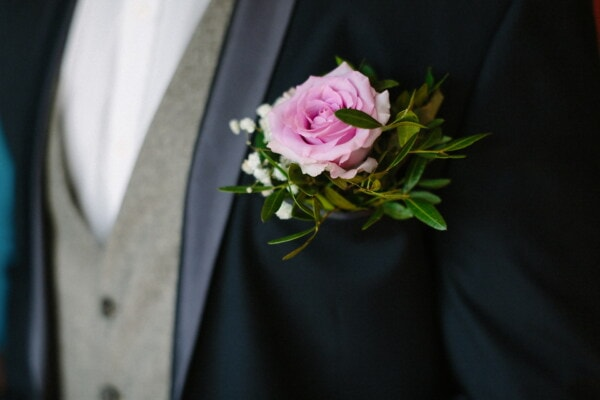 rose, groom, decoration, tuxedo suit, pinkish, elegant, outfit, style, glamour, engagement