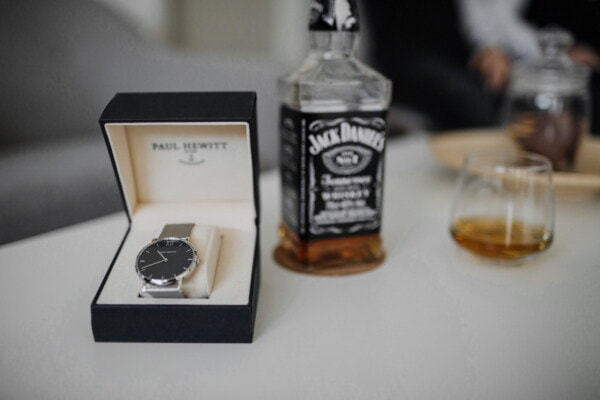 analog clock, gifts, luxury, bottle, alcohol, silver, drink, expensive, indoors, still life