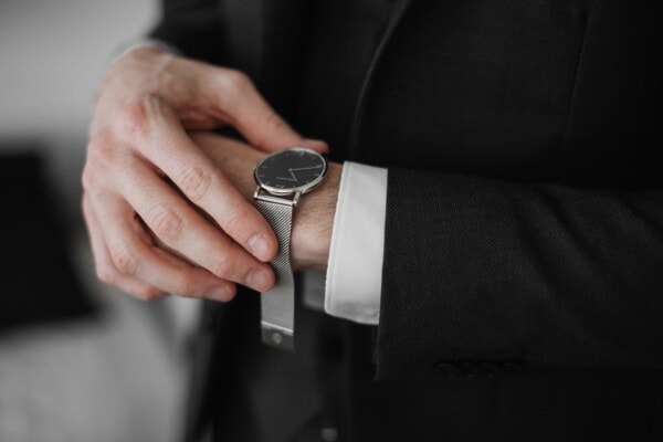 analog clock, wristwatch, buckle, silver, manager, businessman, tuxedo suit, hand, man, indoors