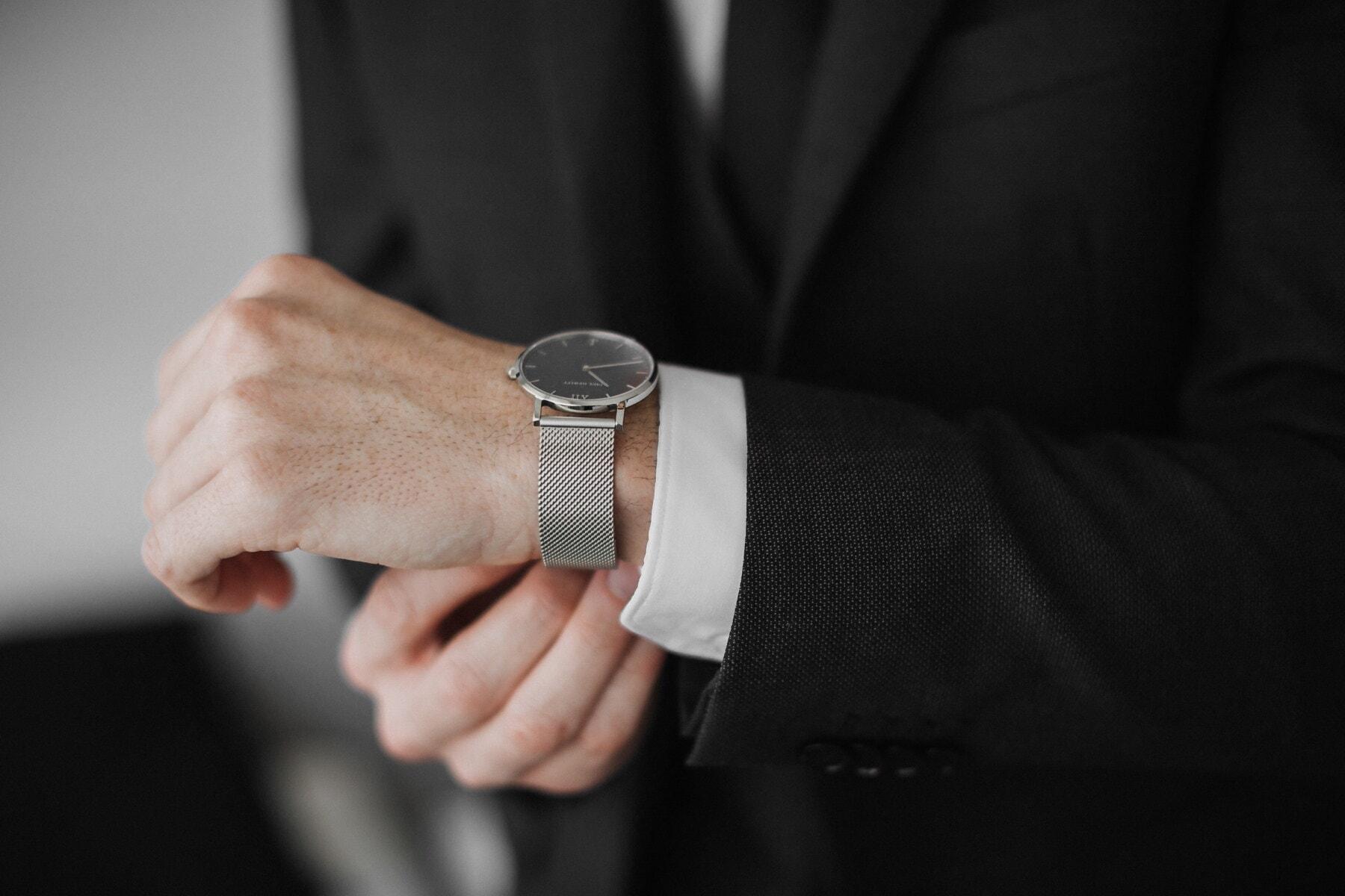 montre à bracelet, Silver, mode de vie, homme d'affaire, Gestionnaire, main, homme, gens, entreprise, à l'intérieur