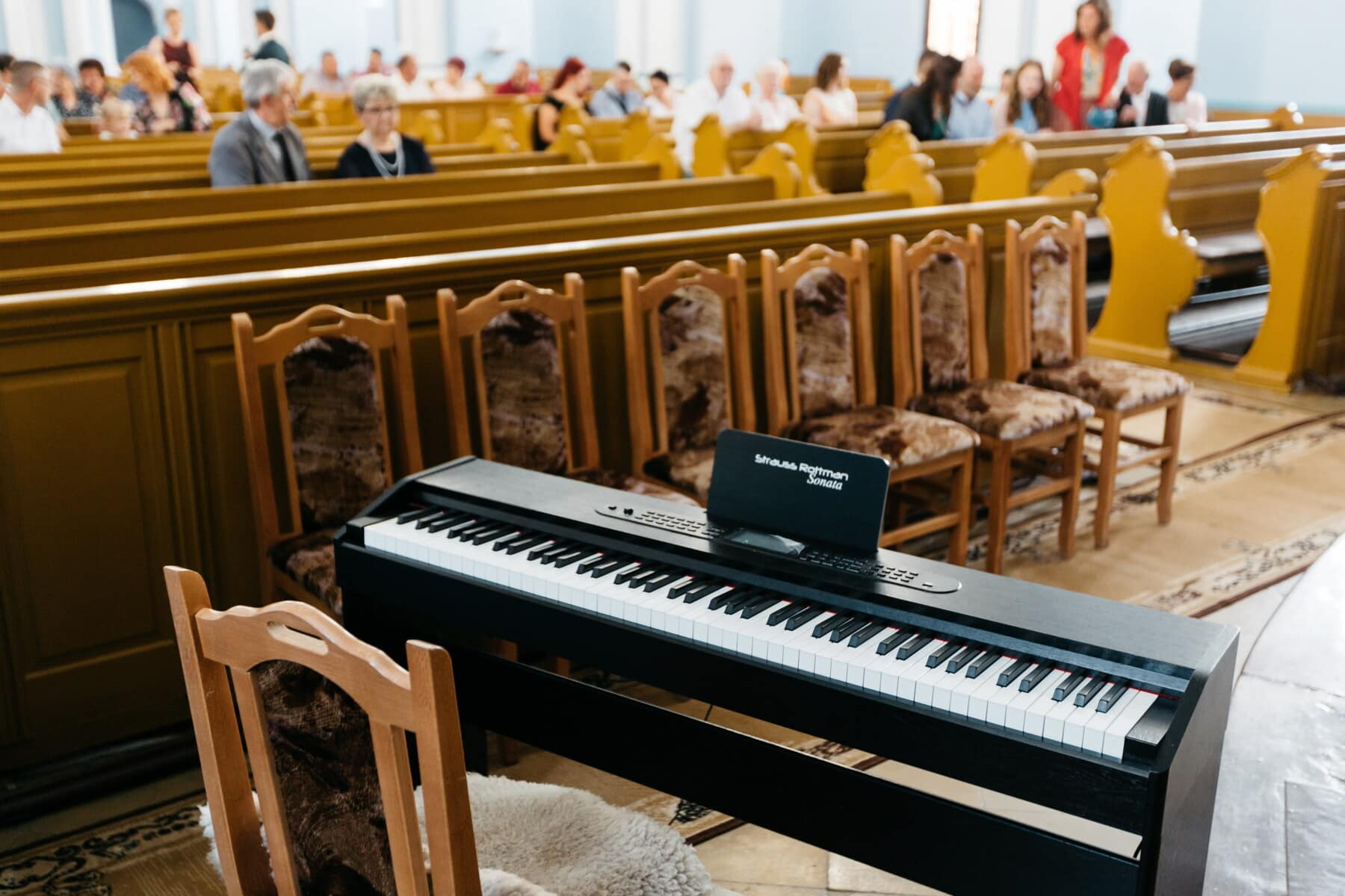 catholic, church, piano, music, instrument, wood, indoors, sound, education, concert