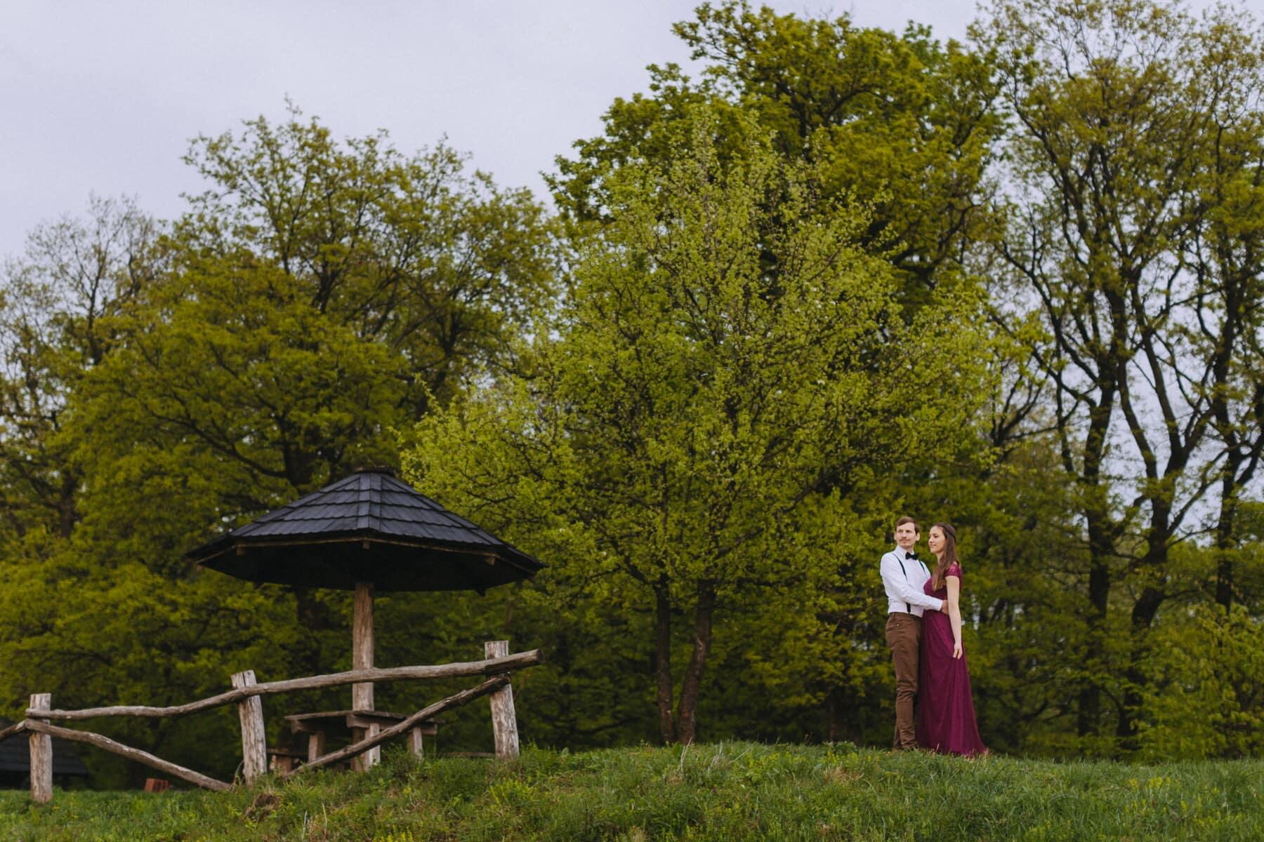 gammeldags, lilla, kæreste, kjole, kæreste, outfit, Village, landskab, træ, træ