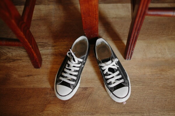 black and white, old style, vintage, old fashioned, sneakers, comfortable, classic, pair, footwear, shoes