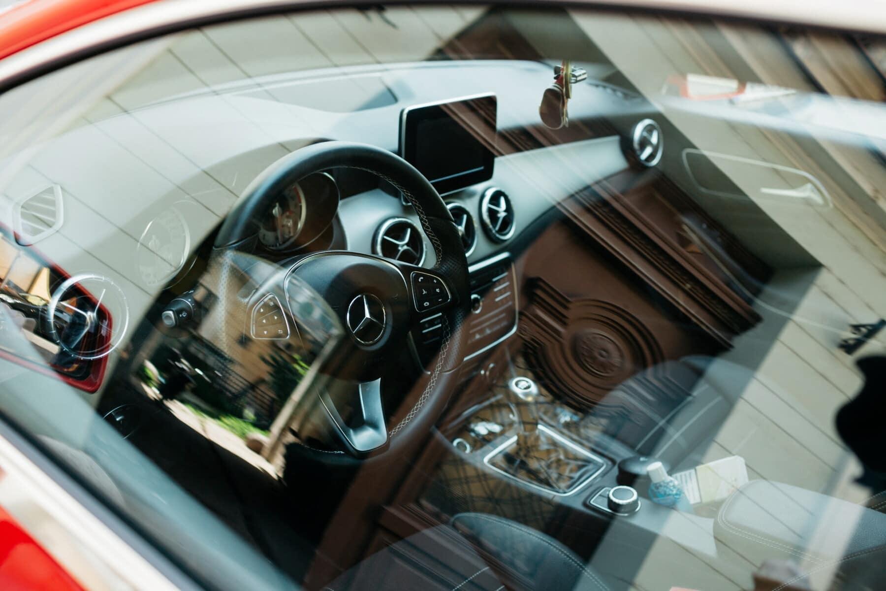 automotivo, volante, glass, painel de controle, assento de carro, velocímetro, caro, luxo, câmbio de marchas, moderna