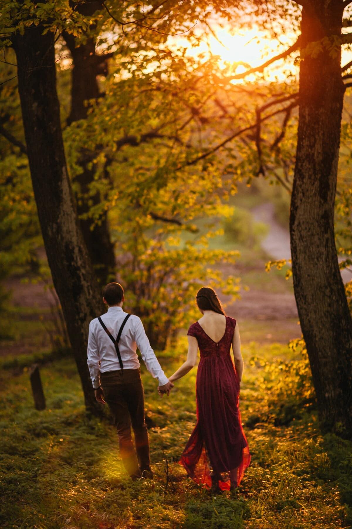 boyfriend, girlfriend, forest trail, hike, sunset, backlight, leaf, autumn, forest, tree