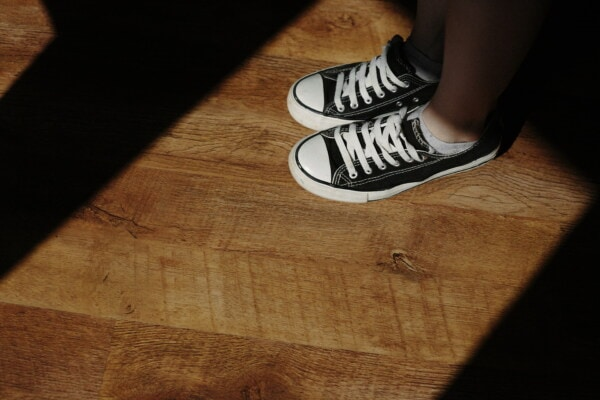 comfortable, running, shoes, sneakers, classic, black and white, parquet, shadow, legs, outfit