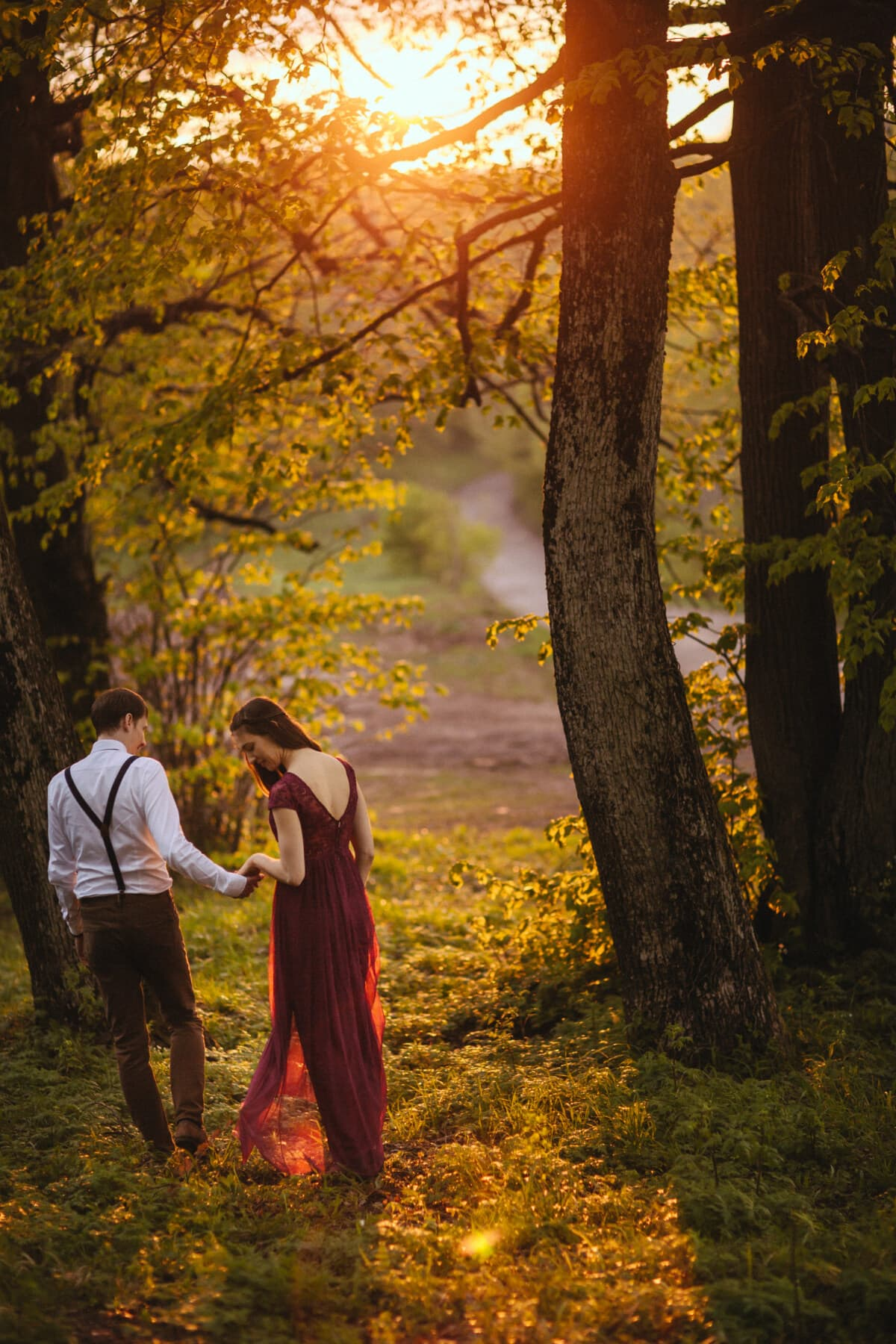 walking, romantic, boyfriend, girlfriend, forest trail, sunset, tree, park, trees, yellow