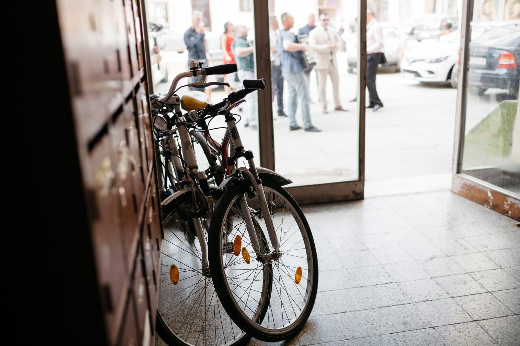 bicycle, front door, inside, building, wheel, bike, street, city, urban, people