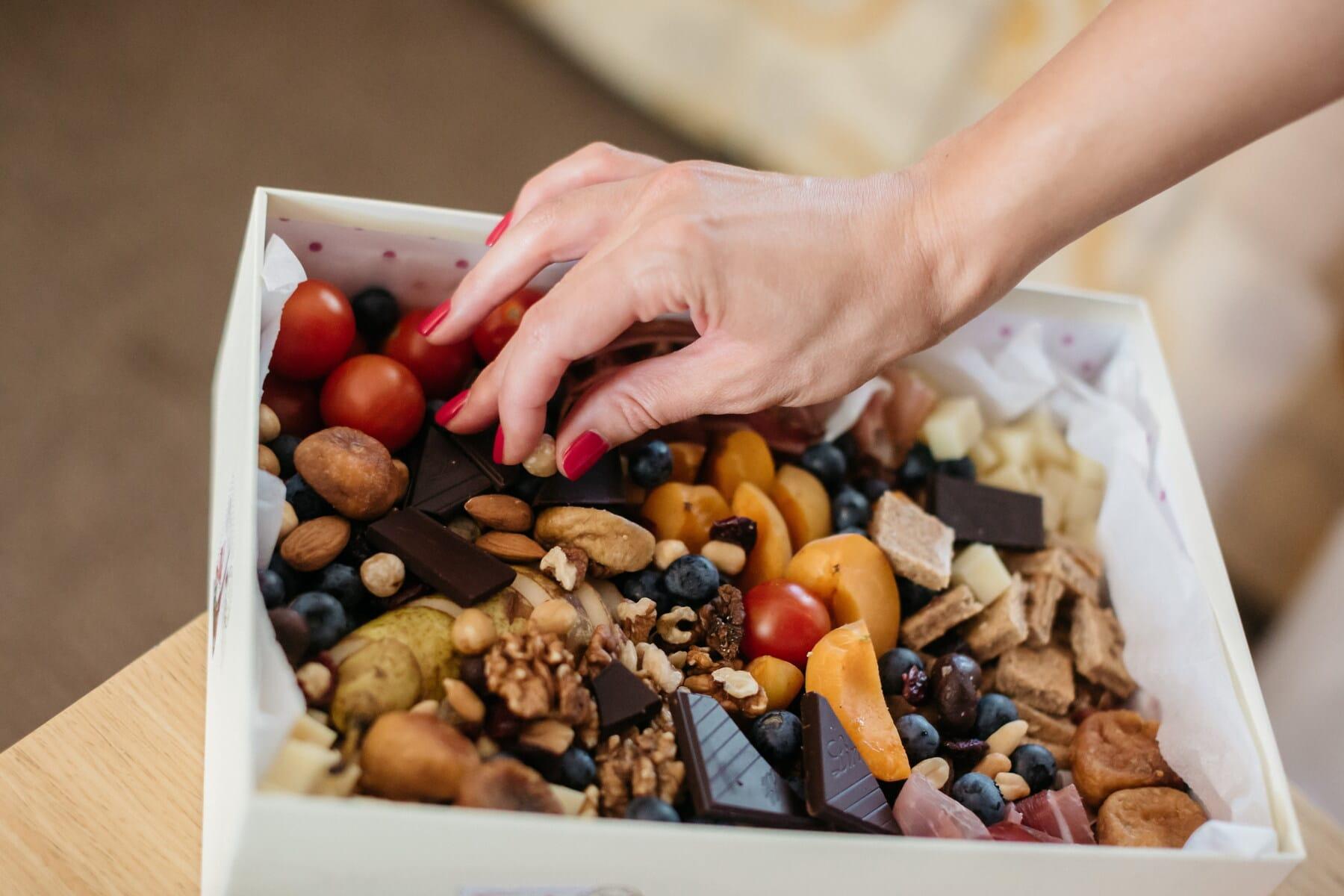 dessert, hand, woman, fruit, walnut, blackberry, dry, snack, chocolate, food