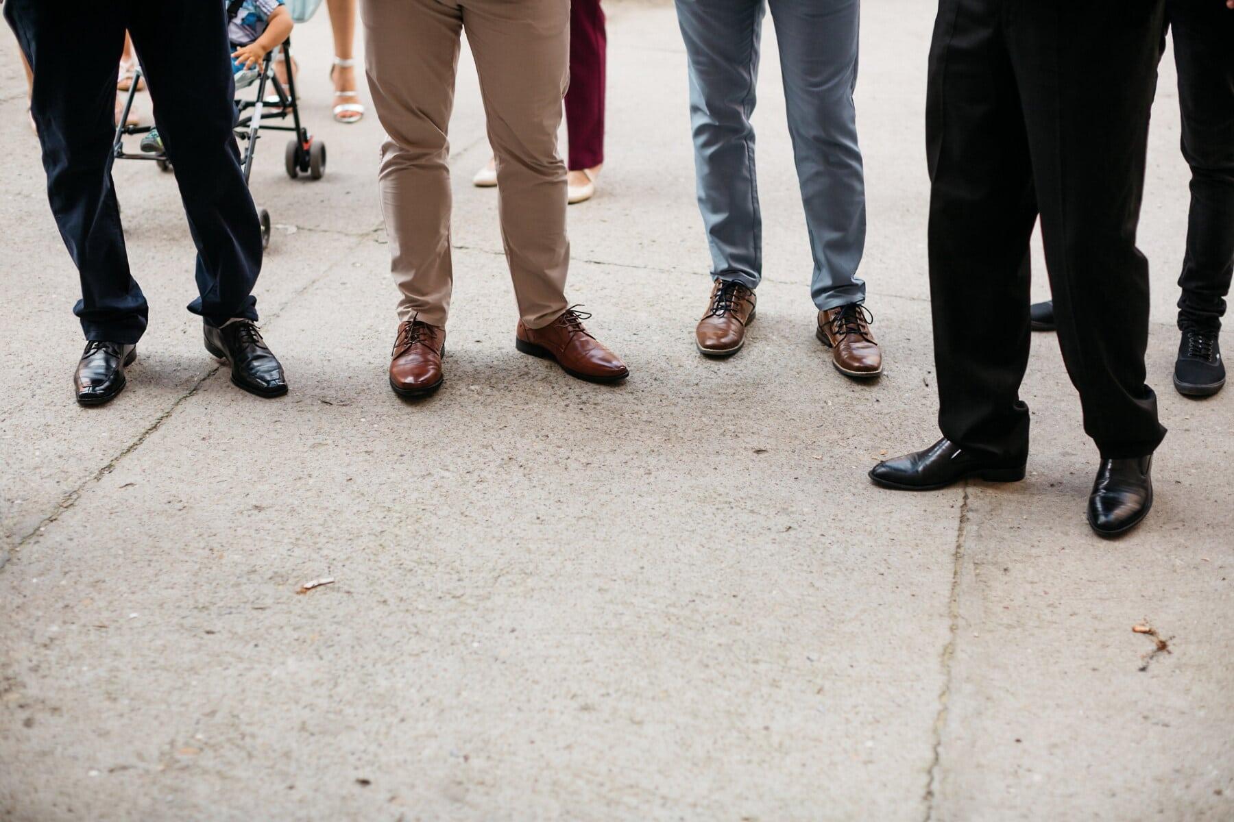 Schuhe, Leder, Hose, Klassiker, Beine, Gruppe, Männer, Outfit, Schuhe, Straße