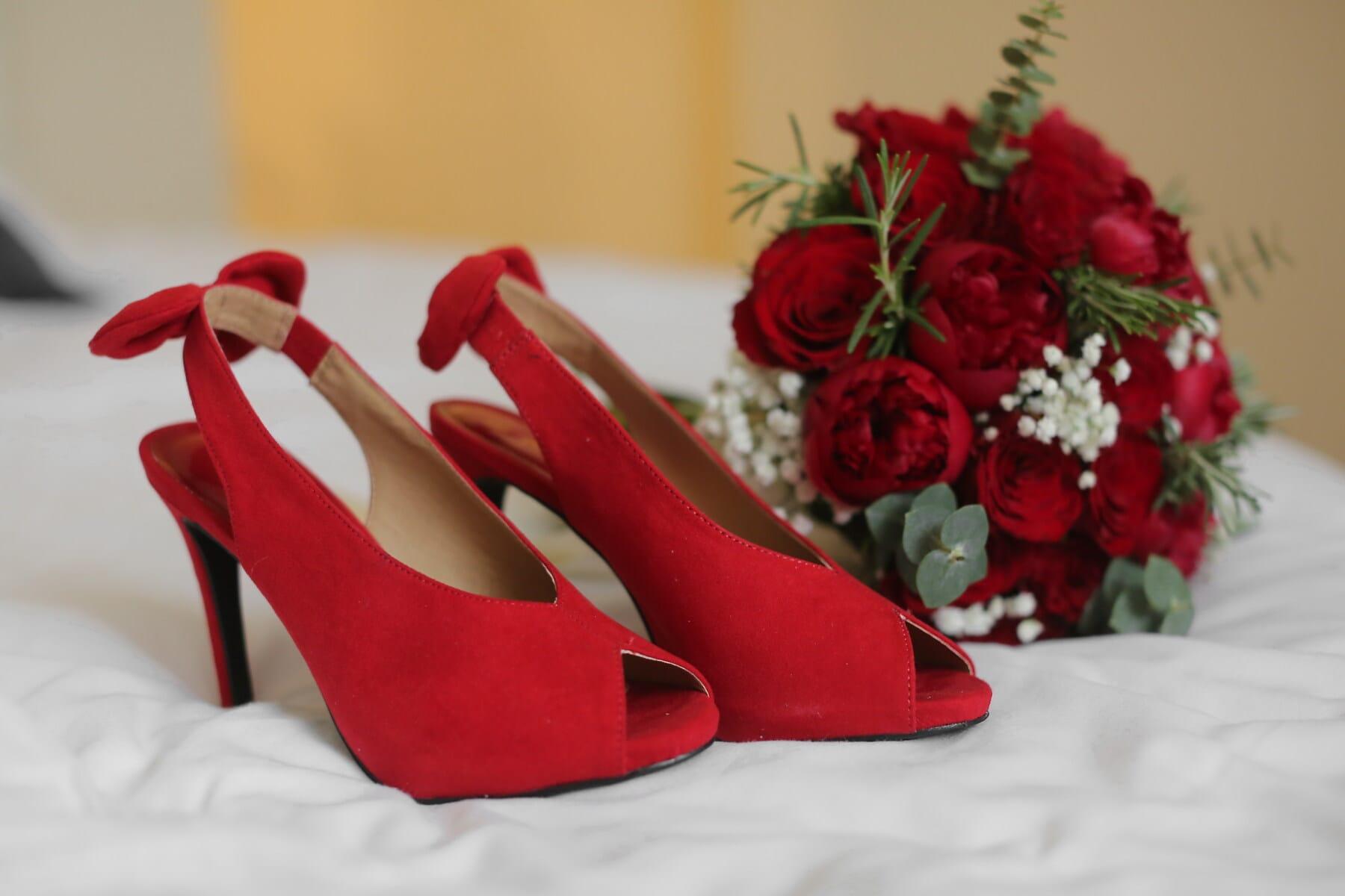 red, heels, shoes, sandal, wedding, wedding bouquet, flower, arrangement, bouquet, decoration