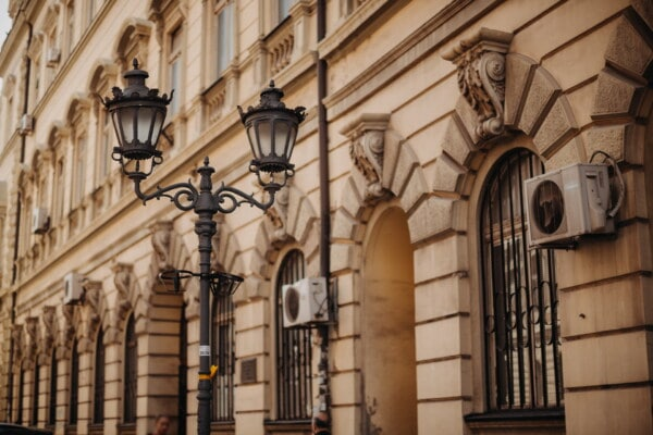 cast iron, lamp, antiquity, baroque, street, vintage, architecture, old, building, gothic