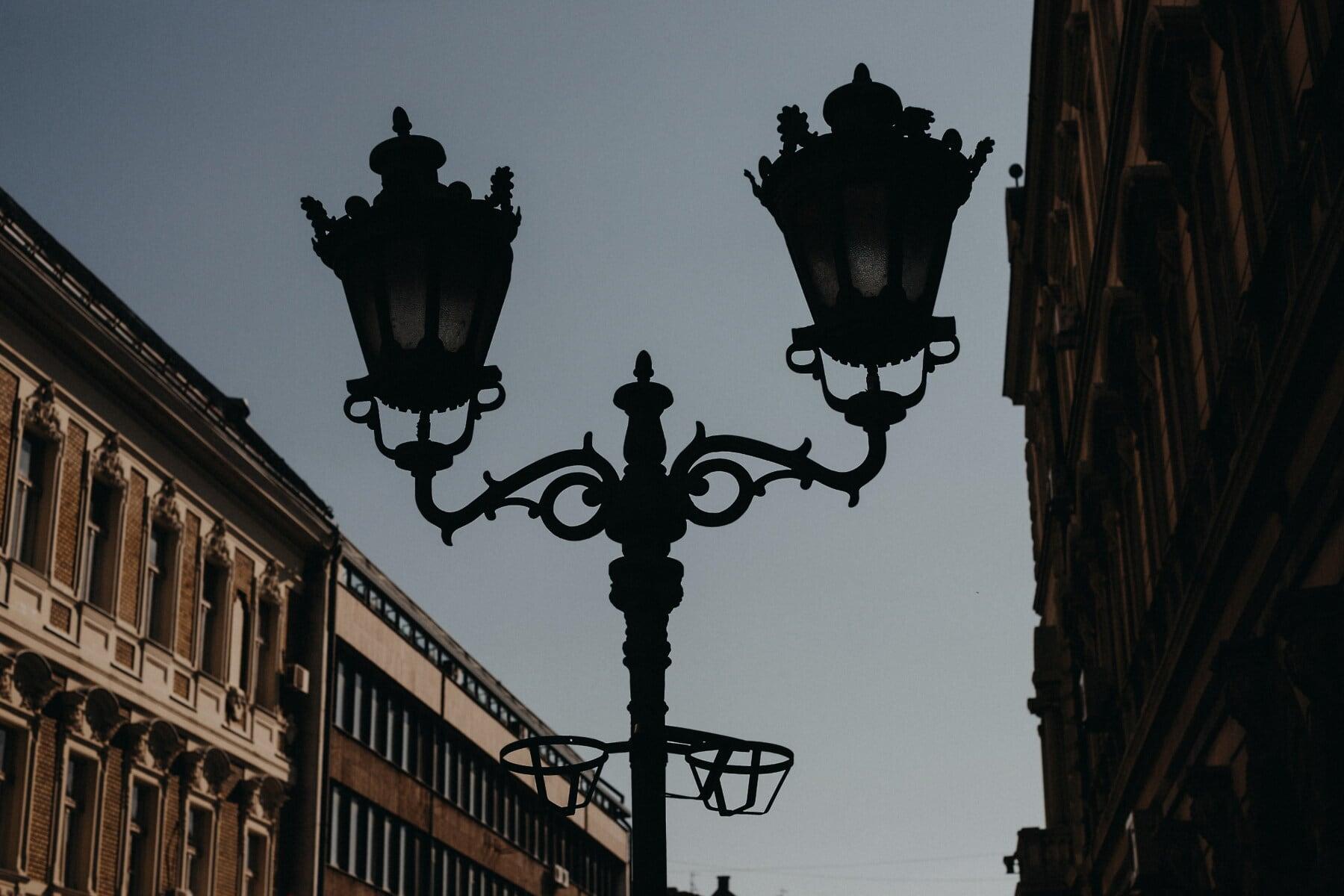 Straße, Barock, aus Gusseisen, Jahrgang, Lampe, Schatten, Dunkelheit, Silhouette, Architektur, Stadt