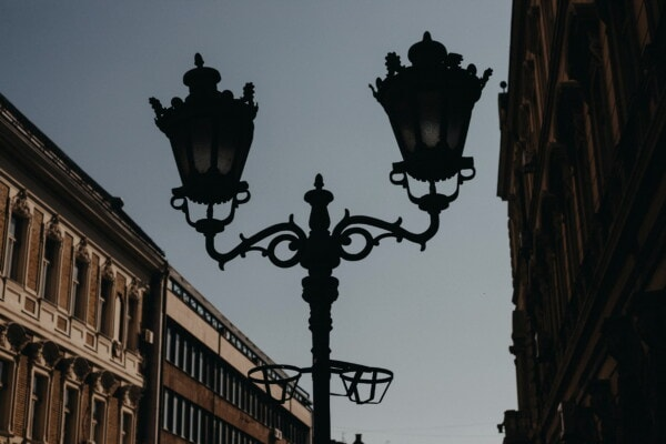 street, baroque, cast iron, vintage, lamp, shadow, darkness, silhouette, architecture, city