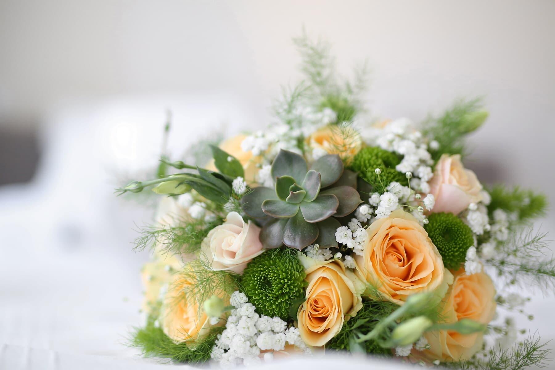 Hochzeitsstrauß, Rosen, Kaktus, elegant, Jahrgang, aus nächster Nähe, Blumenstrauß, Anordnung, Dekoration, Hochzeit