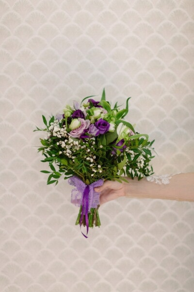 wedding bouquet, hand, holding, bouquet, flower, flowers, leaf, decoration, nature, cluster
