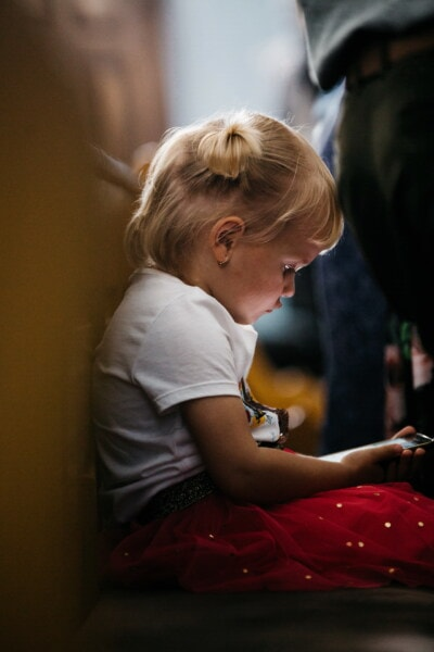 baby, toddler, child, mobile phone, technology, internet, concentration, girl, portrait, indoors