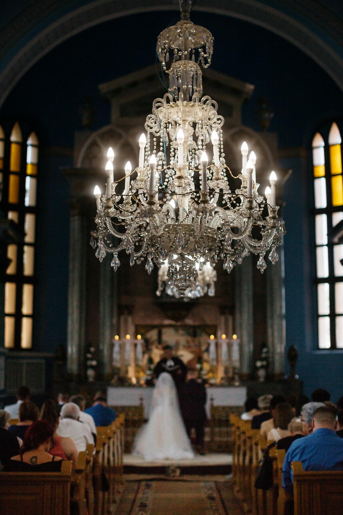 chandelier, crystal, baroque, church, interior decoration, wedding, building, cathedral, altar, architecture