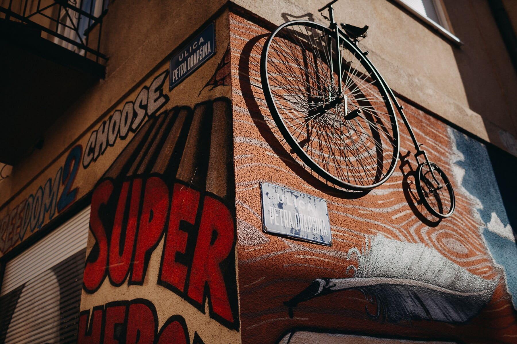 vélo, antiquité, suspendu, mur, démodé, vieux, vintage, Graffiti, décoration, Retro