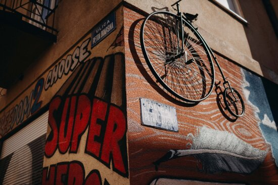bicycle, antiquity, hanging, wall, old fashioned, old, vintage, graffiti, decoration, retro