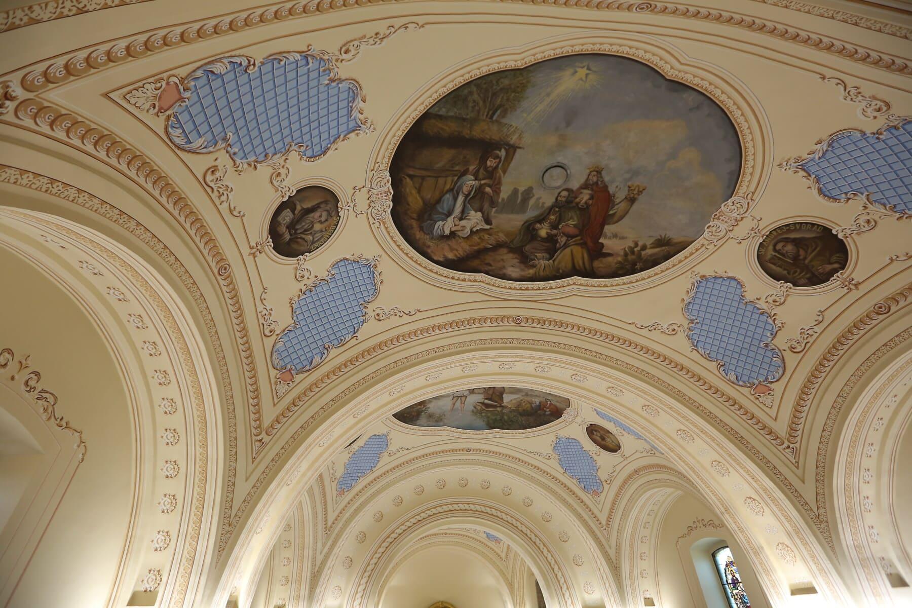 église, au plafond, Christianisme, conception, spiritualité, peinture, beaux arts, Saint, architecture