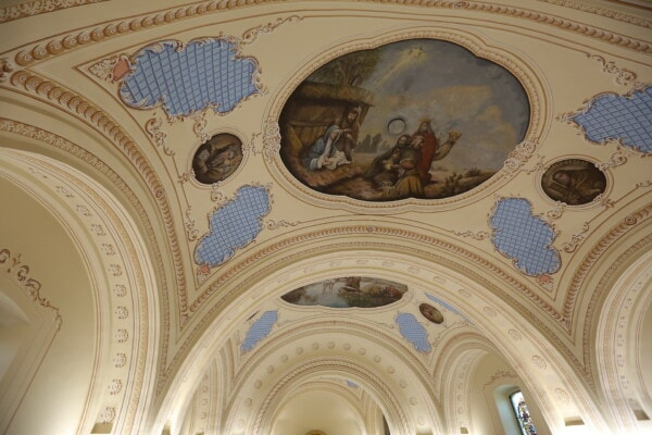 church, ceiling, christianity, design, spirituality, painting, fine arts, worship, saint, architecture