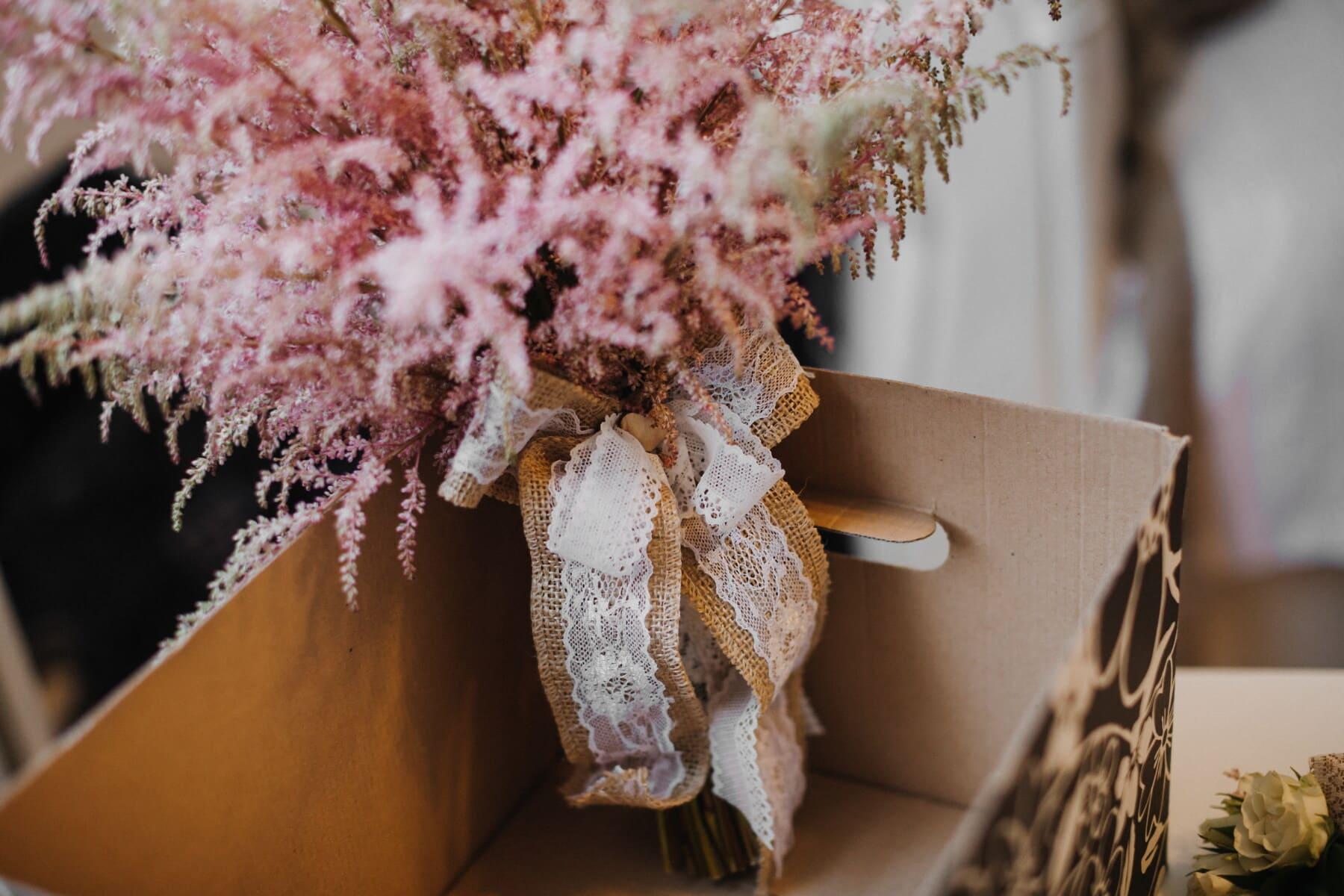 pinkish, homemade, bouquet, vintage, box, carton, flower, still life, light, nature