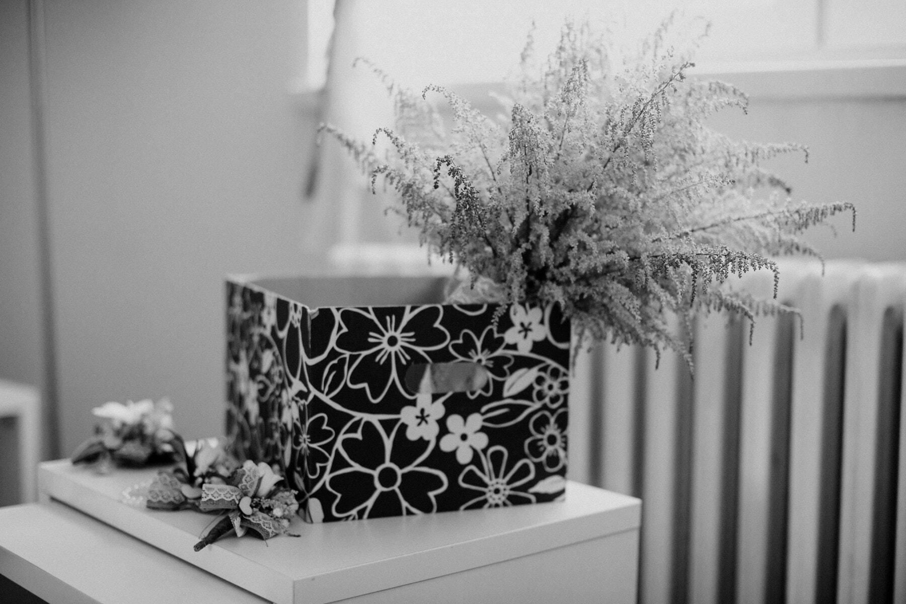 box, flowers, bouquet, black and white, gifts, interior decoration, flower, monochrome, interior design, art