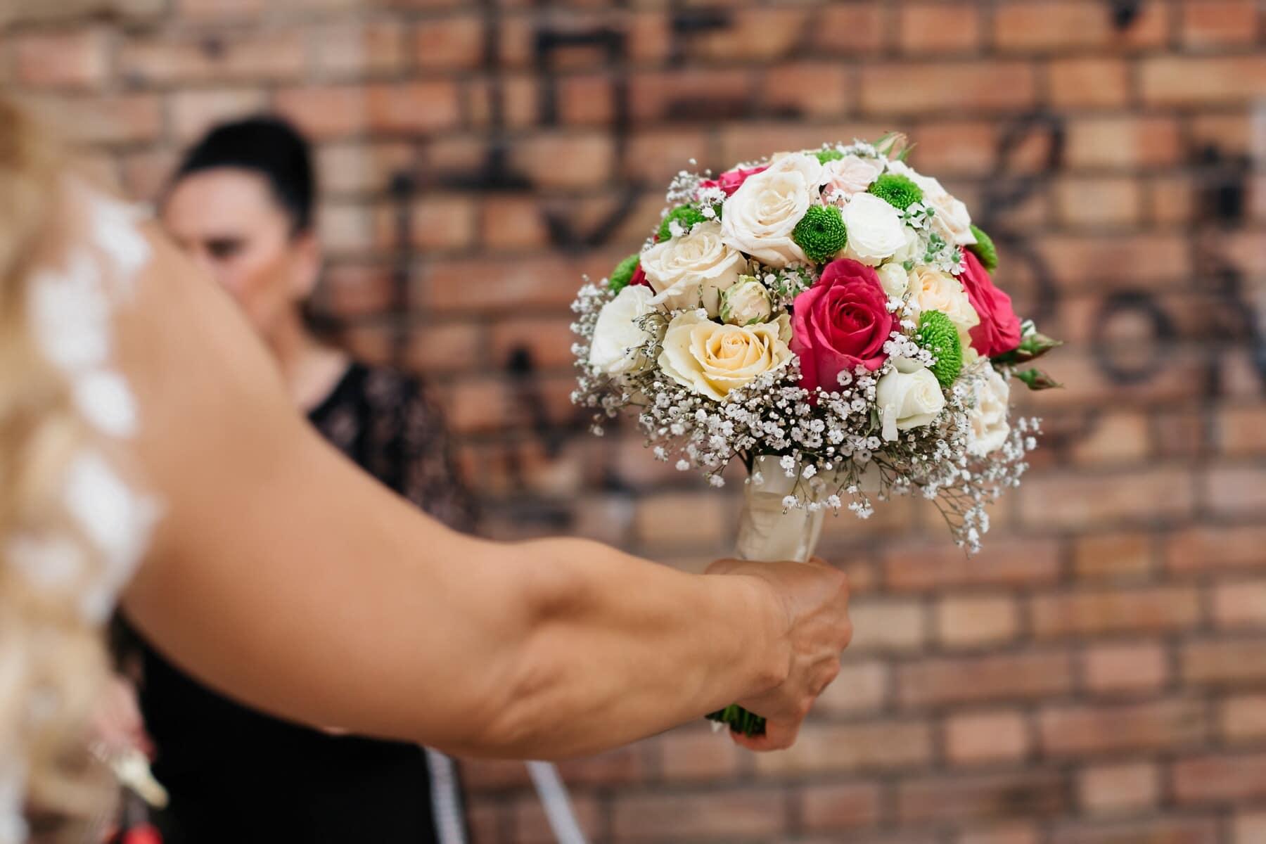 la mariée, bouquet de mariage, fait main, main, mariage, romance, bouquet, femme, amour, cérémonie