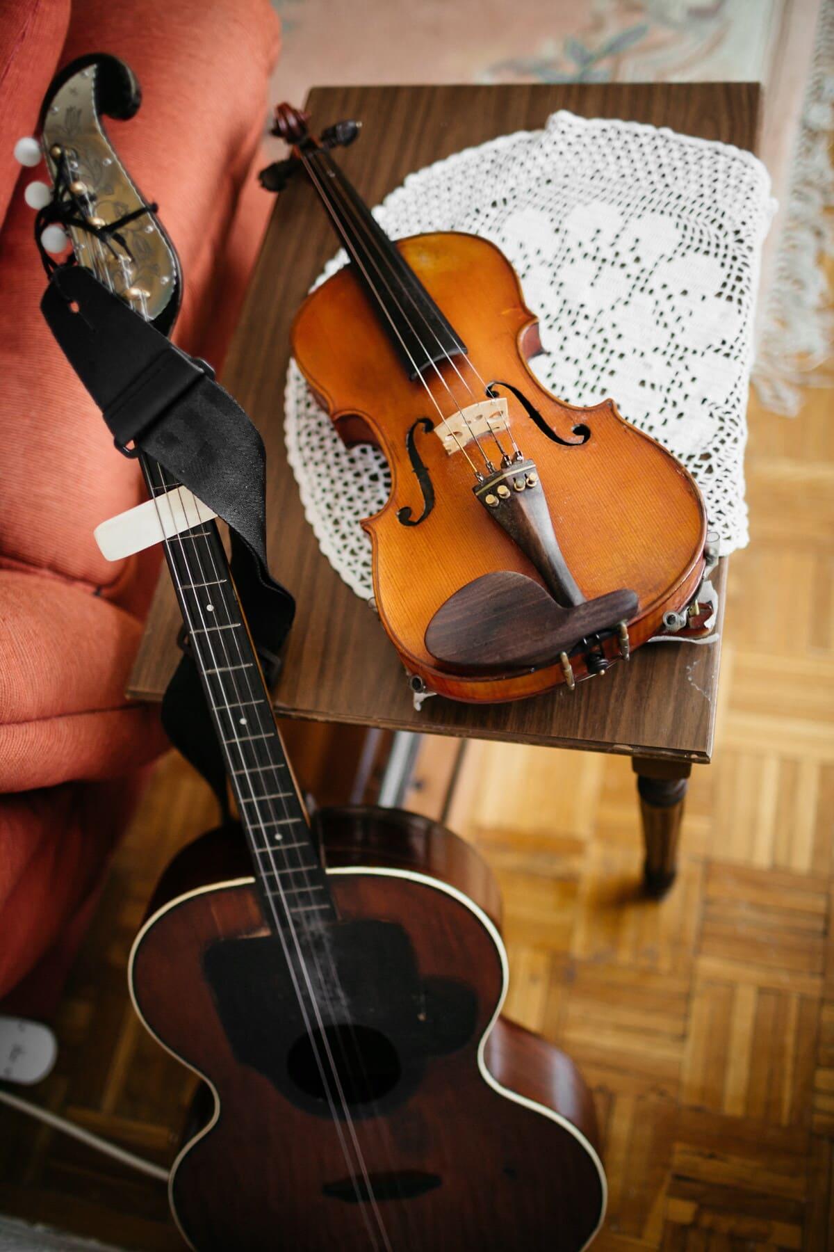 violon, analogiques, guitare, instrument, nature morte, musique, classique, mélodie, musical, bois