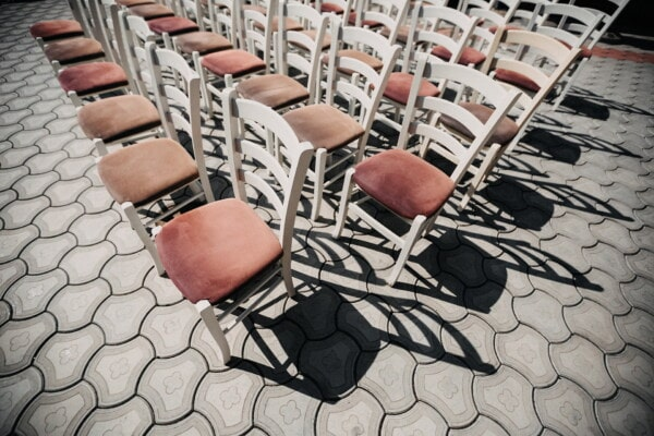 white, vintage, chairs, wooden, furniture, pavement, concrete, shadow, seat, chair