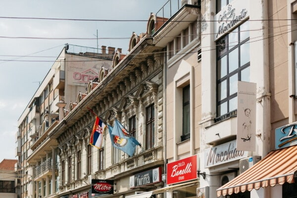 buildings, Serbia, street, socialism, capital city, architectural style, balcony, structure, cinema, city