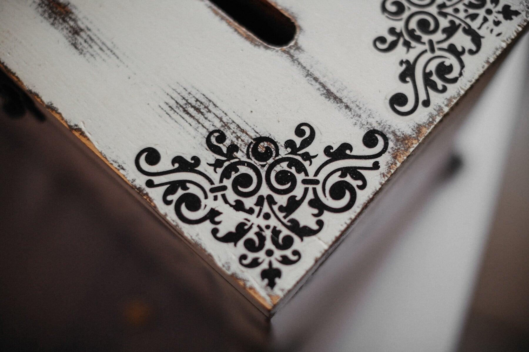 cutie, Vintage, din lemn, cufăr, alb-negru, decorative, lucrate manual, Ornament, colţ, Antique