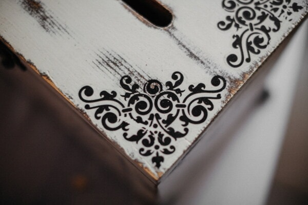 box, vintage, wooden, chest, black and white, decorative, handmade, ornament, corner, antique