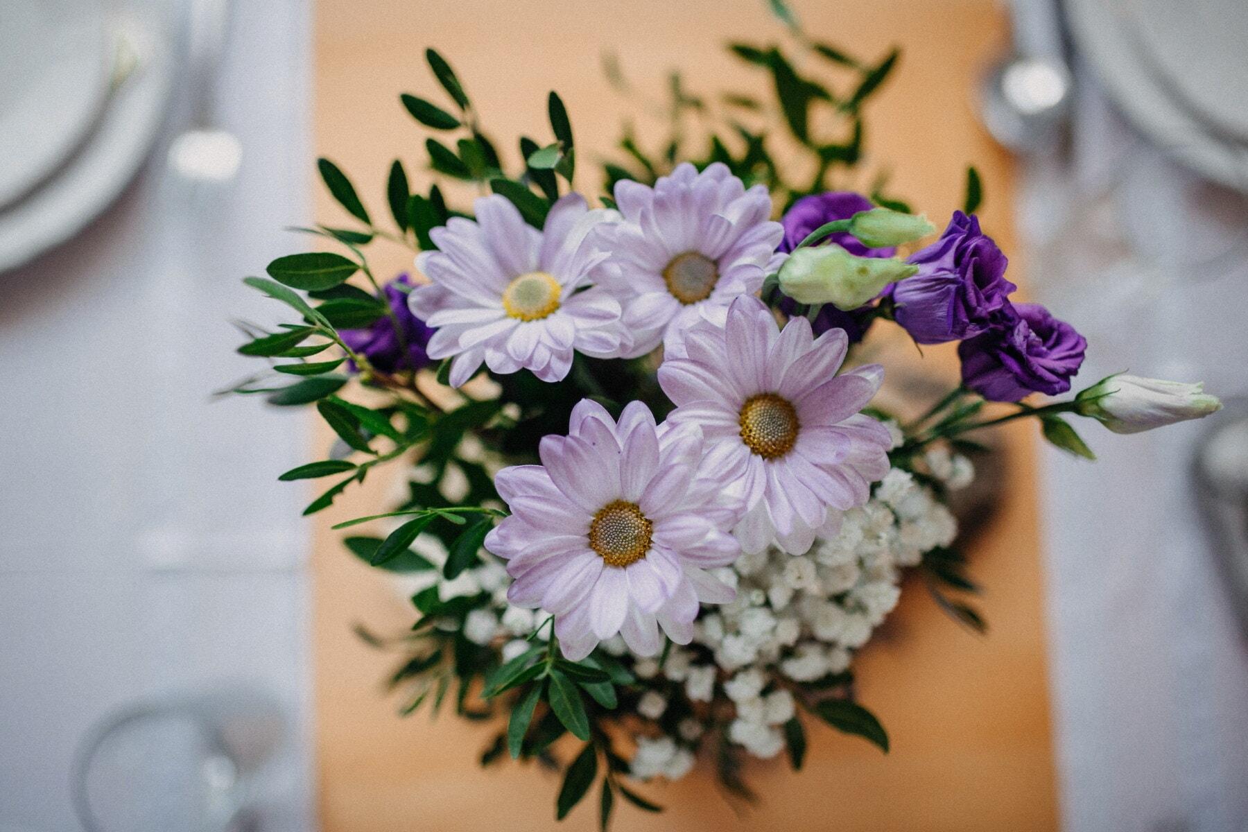 фиолетовый, розы, цветы, букет, Столовая, композиция, стол, элегантность, марочный, крупным планом