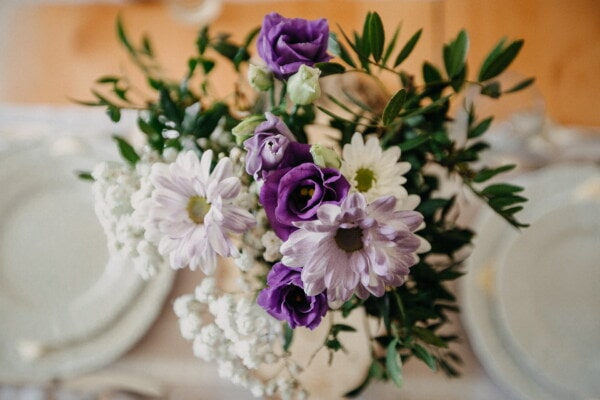 purplish, white, flowers, bouquet, roses, dining area, close-up, flower, decoration, leaf