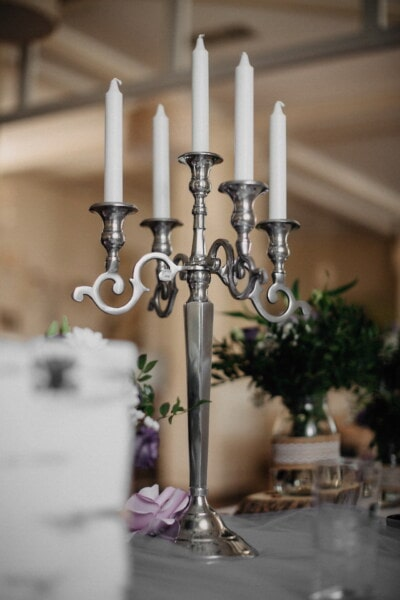 baroque, silver, candlestick, white, candles, elegant, holder, candle, indoors, interior design
