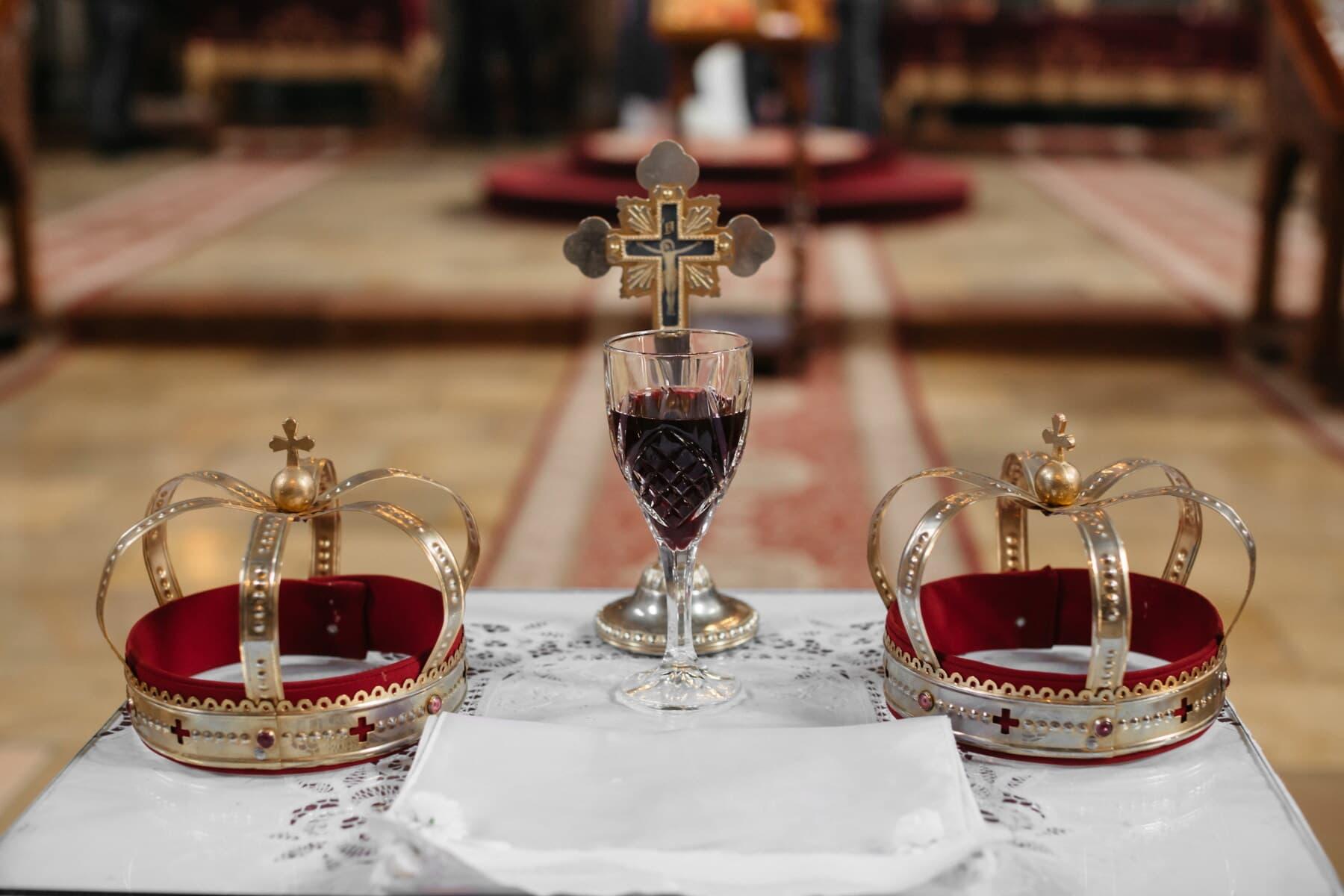 verre, crystal, vin rouge, or, couronnement, baptême, mariage, Croix, Couronne, Christianisme