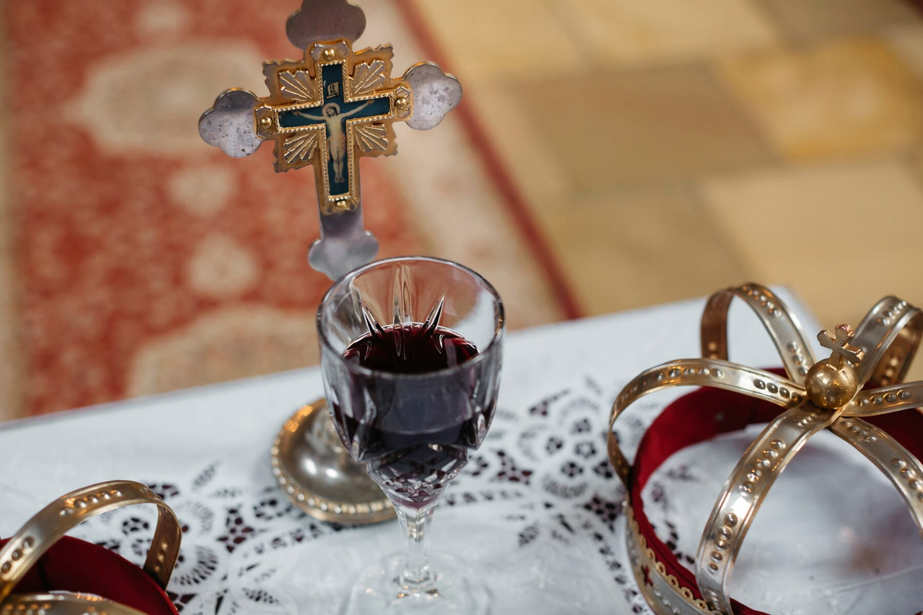 red wine, relict, coronation, ceremony, cross, crown, religion, baptism, alcohol, beverage