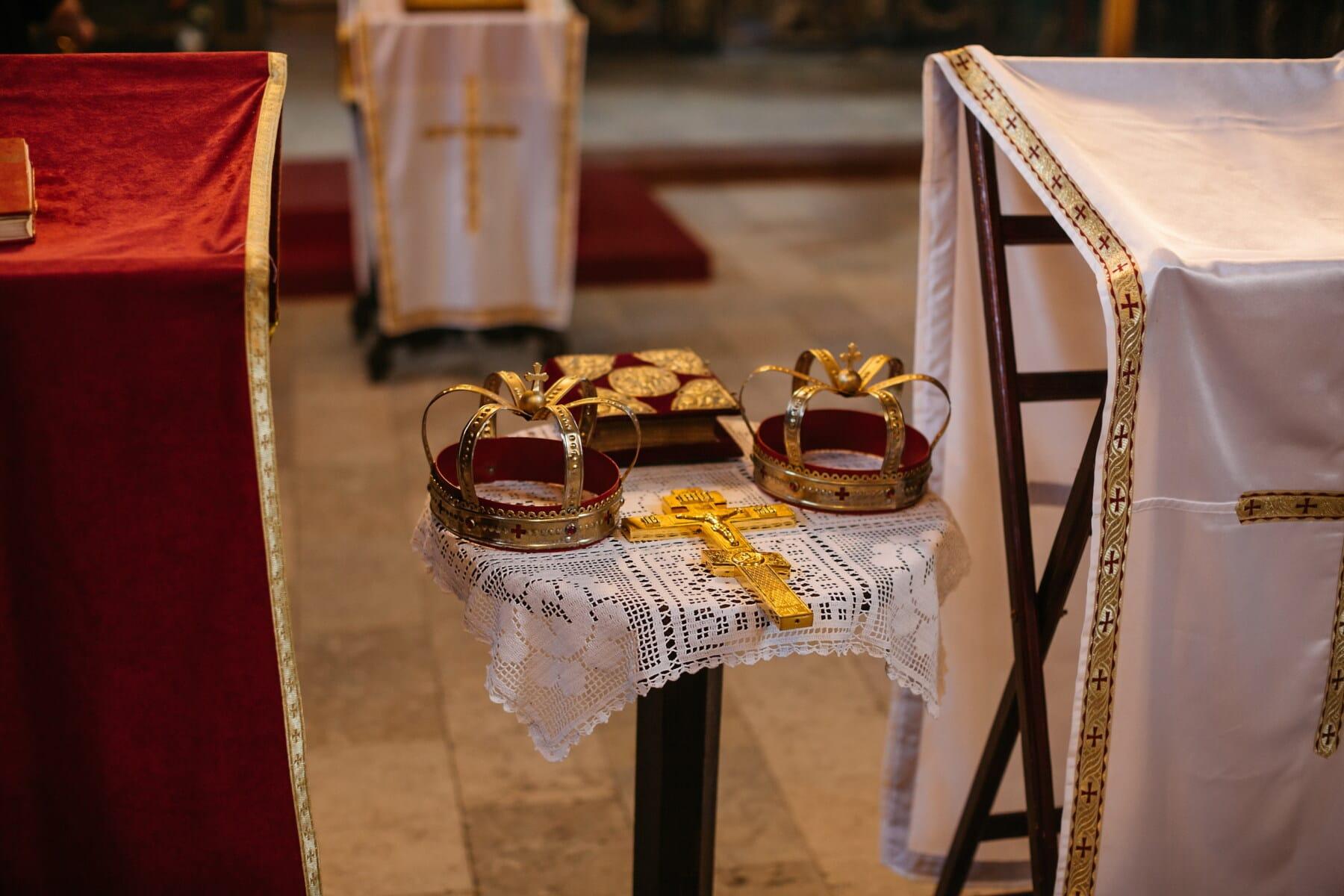 baptême, couronnement, église, or, Croix, Couronne, table, mariage, vaisselle, meubles
