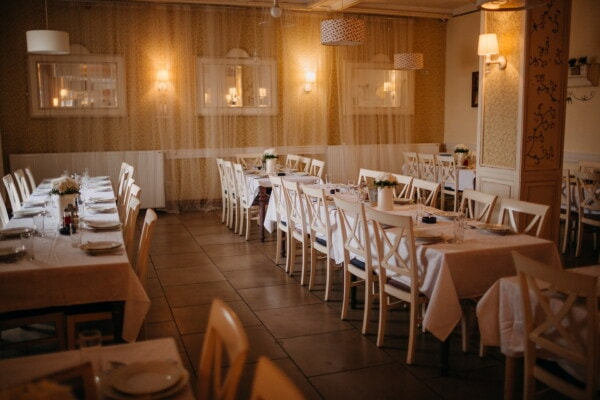 restaurant, empty, dinner table, dining area, evening, furniture, hotel, indoors, tableware, table